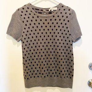LOFT by Ann Taylor gray with black polka dot top
